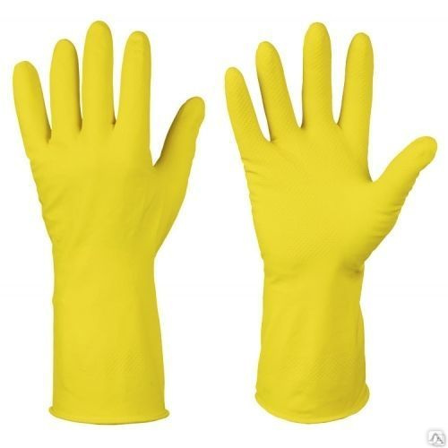 Перчатки латексные желтые размер М, цена в Челябинске от компании Альфа-трейд